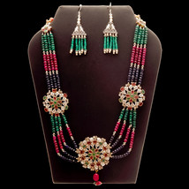 Sterling Silver Emerald, Ruby, Sapphire Vintage Tribal Beaded Necklace J... - $239.98