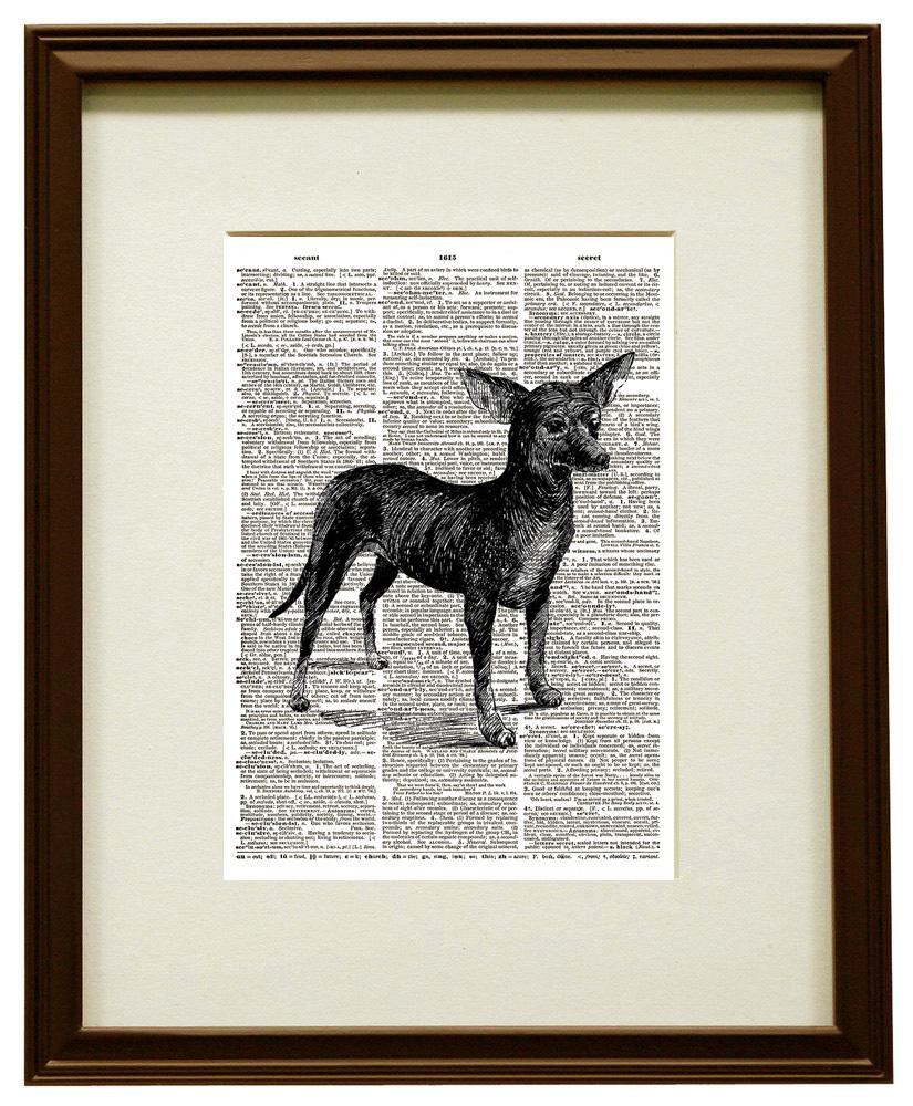 Cute Chihuahua Small Dog Animal Vintage Dictionary Art Print No. 0167