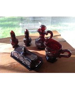 VINTAGE AVON RUBY RED THE 1876 CAPE COD COLLECTION 5 PIECE SET - $35.00