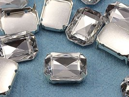 25x18mm Crystal Octagon Fancy Gems & Cup Settings - 8 Pieces - $5.63