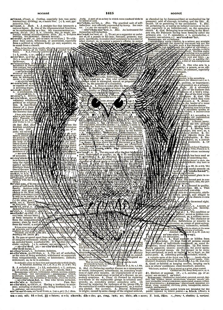 Owl Art Bird on a Branch Vintage Dictionary Art Print No. 0170