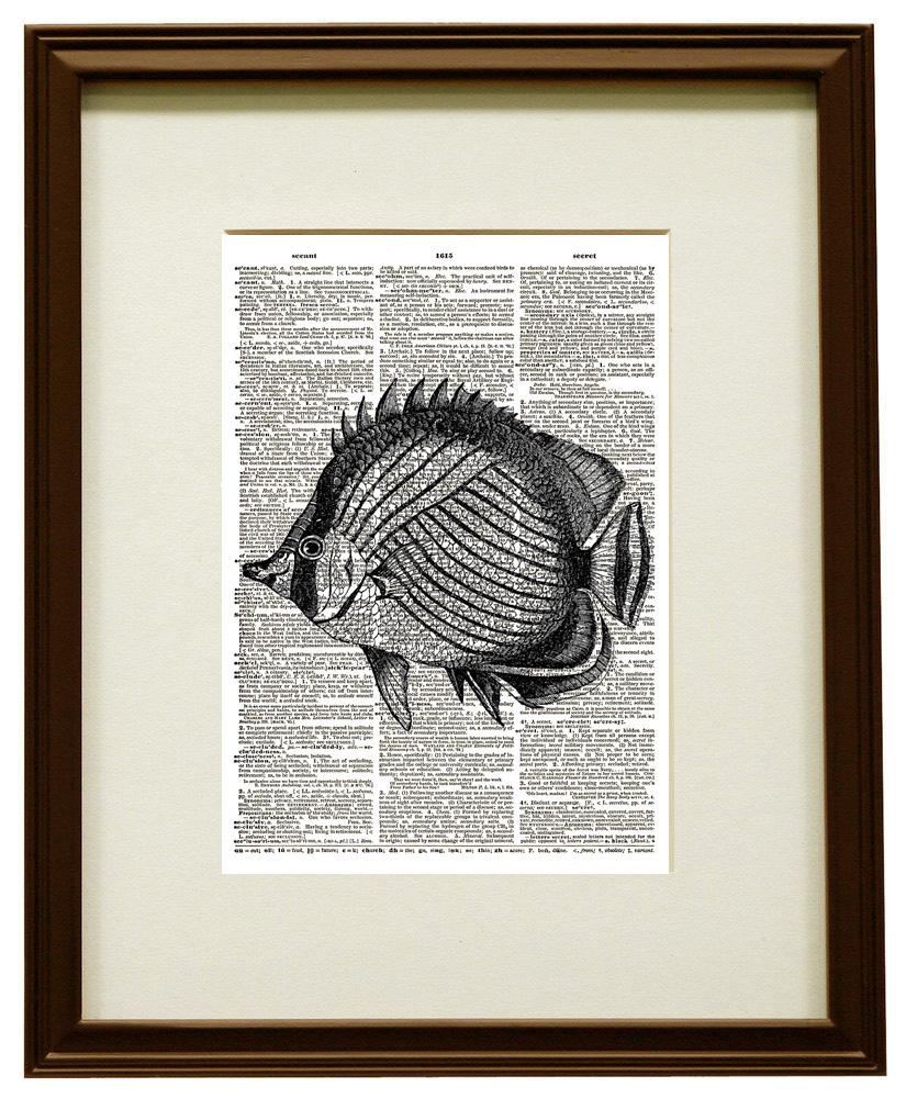 Butterfly Fish Ocean Animal Vintage Dictionary Art Priint No. 0172