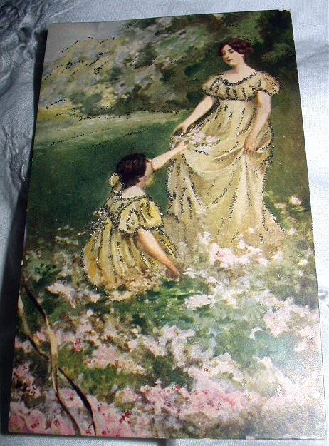 LOVELY UNUSED PC-VICTORIAN WOMAN,GIRL IN YELLOW DRESS