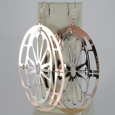 925 STERLING ROSE SILVER PENDANT EARRINGS BIG OVAL WITH DAISY 3.5 INCHES LONG
