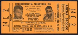 CASSIUS CLAY vs SONNY LISTON Full Ticket Lewiston Maine May 25,1965  Rem... - $197.01