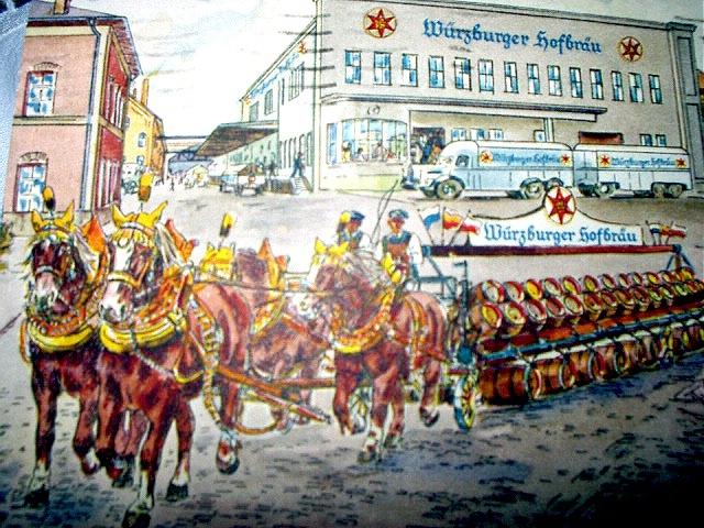 1957 PC-WURZBURGER HOFBRAU-HORSES,BEER BARRELS