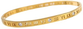 Baoli Zircon Jewelry Roman Numerals Bangle Bracelet For Women (yellow Gold) - $32.15