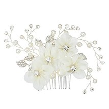 Miallo Bridal Hair Comb Silver Tiny Side Comb Lace Flower with Rhinestone Weddin