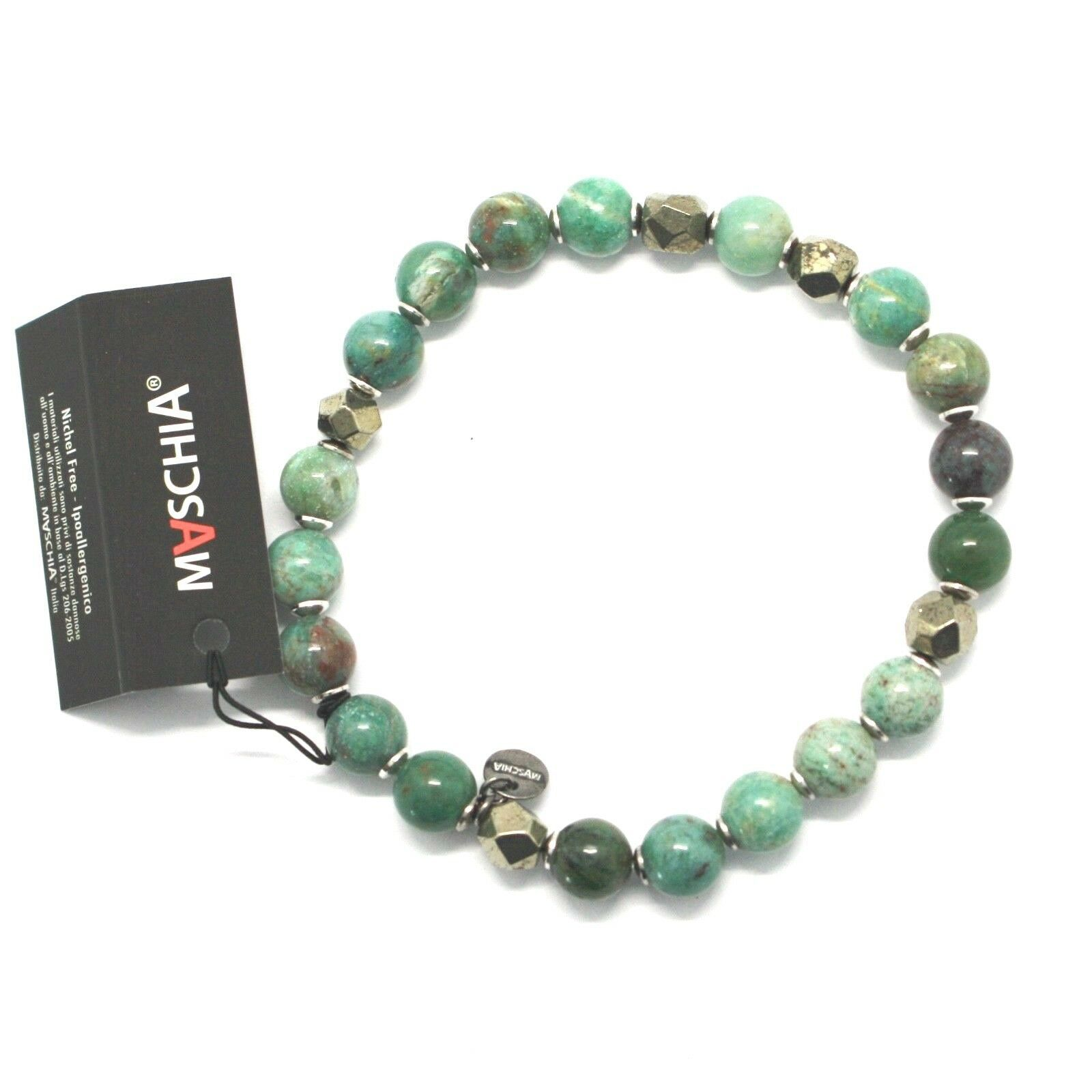 Silver 925 Bracelet with Hematite and Jasper Bbus-5 Made in Italy by Maschia