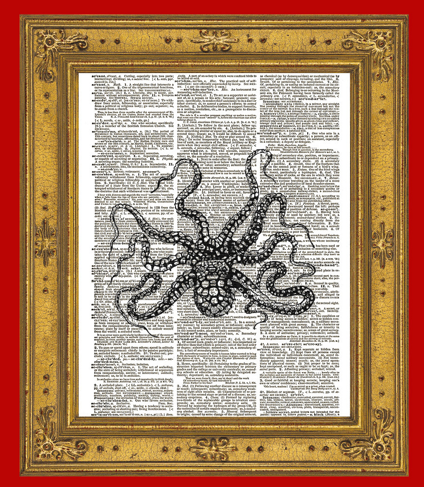 Octopus Cephalepod Ocean Animal Vintage Dictionary Art Print No. 0180