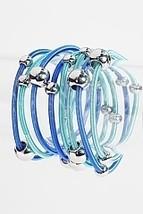 Aqua Blue Silver Tone Beaded Eight Strand Stretch Bracelets - $10.80