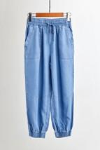 Dark Blue Denim CROP PANTS Drawstring Elastic Waisted Crop HAREM PANTS Trousers image 9