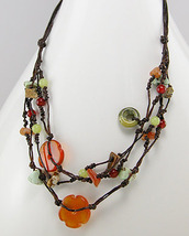 Carnelian, Jasper, Jade Cotton Necklace & Bracelet Set - £15.67 GBP