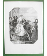 VENICE Lovers Embarking Gondola Ittaly - SUPERB Print Engraving - $18.90