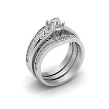 Art Nouveau Leaf Vine Engagement Ring Matching Wedding Band Set Bridal Jewelry - $1,479.99