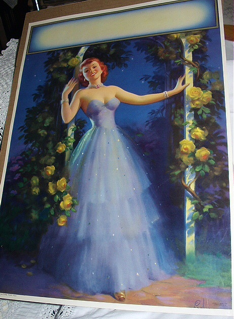 RARE1949 LargePosterLithograph-ART FRAHM-Waiting For You Pin