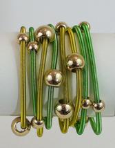 Lemon Lime Green Gold Tone Beaded Eight Strand Stretch Bracelets - $8.80