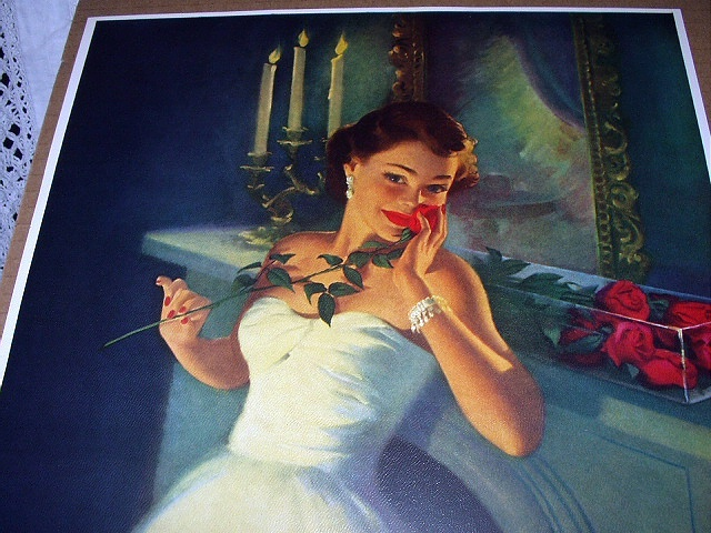 Gorgeous Deco Lady,Beautiful Red Roses-HUFFORD-Love Sends A