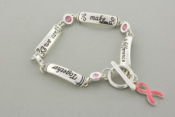 Pink Ribbon Rhinestones & Silver Tone Links  Awareness Toggle Bracelet