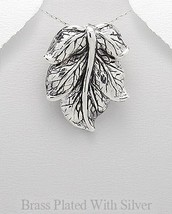Sterling Silver over Brass Detailed Large Leaf Pendant Necklace - £18.46 GBP