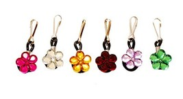 6 pcs Crystal Flowers Zipper Pull Charms for Jacket Backpack Bag Pendant - $9.40