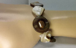Beach Inspired Shell and Abalone Bracelet with Sterling Silver Toggle  - $25.00