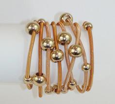 Tangerine Orange Gold Tone Beaded Eight Strand Stretch Bracelets - $21.00