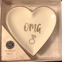 Jewelry Tinket Dish OMG Heart Gold Porcelain Engagement Wedding Ring Tray - $12.82