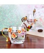 Mini Orange Flower Blossom Enamel Glass Heat Resistant Coffee Tea Cup + ... - $73.93