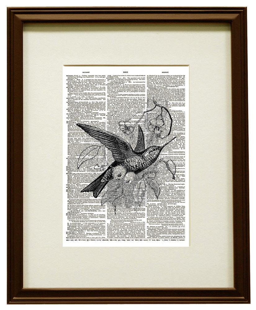 Hummingbird Bird Animal Vintage Dictionary Art Print No. 0183