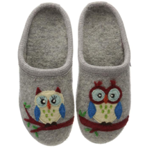 HAFLINGER Flair Greta Gray OWL Wool Arch Support Slipper US 6 10 EU 37 41 - $64.01+