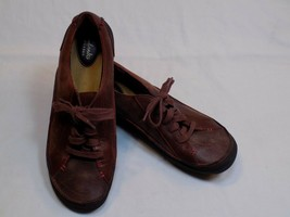 Clarks Artisan 10 M Red Nubuck Leather Laces Up Bowling Shoes Comfort Sh... - $26.99