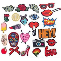 Iron On Embroidered Patches OKEER 24 Pcs Sew Motif Applique Decoration D... - $13.98