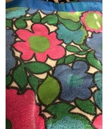 "Vtg Blanket Floral Twin Double Full Green Pink Blue Satin Like Edge 90""x70"" - $19.34"