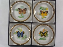 Viking Glass Butterfly Coasters and/or Ashtrays with Gold Rim #D3052, De... - $57.00