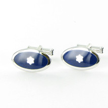 Montblanc 105882 Silver Collection Cufflinks Oval Blue Enamel Star New i... - $581.99
