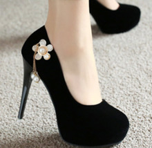 88H147 girlish style high-heeled pump decorated w pearls, Size 4-8.5, black - $52.80