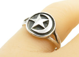 925 Sterling Silver - Vintage Crescent Moon & Star Band Ring Sz 8.5 - R1... - $24.37