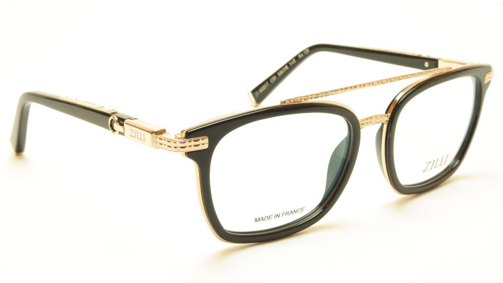 cc131cb6e30 ZILLI Eyeglasses Frame Acetate Titanium Black Gold France Hand Made ZI  60017 C01