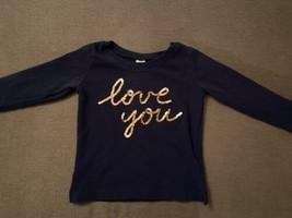 """Carter's Girls Navy Blue Long Sleeve Shirt """"Love You"""" Gold Sequence - $11.83"""