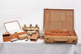 Authentic Hermes Vintage Leather Travel Grooming Set w/ Silver Toiletry Pieces - $4,653.00