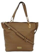Michael Kors Tote Bag Leather Brooke Chain Beige Dark Khaki Medium - $351.45