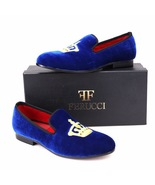 Handmade  FERUCCI Men blue Velvet Slippers loafers with Crown davucci - $139.99