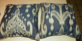 Pair Blue Beige Abstract Print Throw Pillows  18 x 18 - $59.95