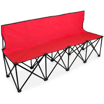 6-Foot Portable Folding 4 Seat Bench with Back, Red - $76.47