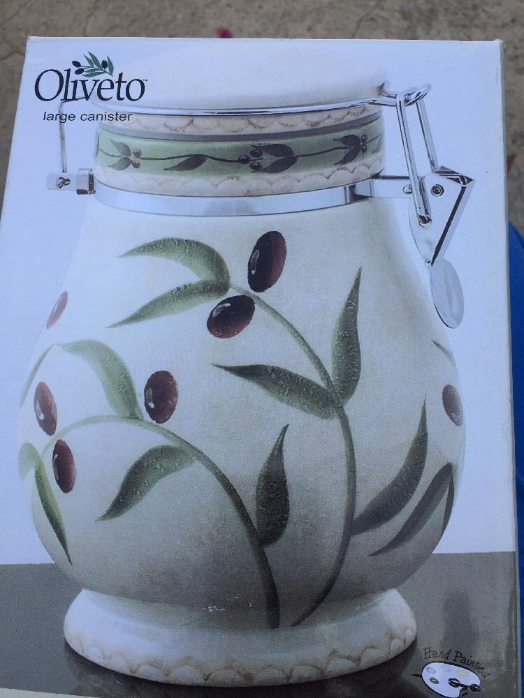 "Oneida Oliveto Large  8"" canister with snap lock lid, hand painted, New"