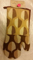 "Fabric Printed Kitchen 13"" Jumbo Oven Mitt, UNUSSUAL LEAVES, w/brown bac... - $7.91"