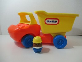 Vintage Little Tikes Toddle Tots orange yellow dump truck + construction... - $14.84