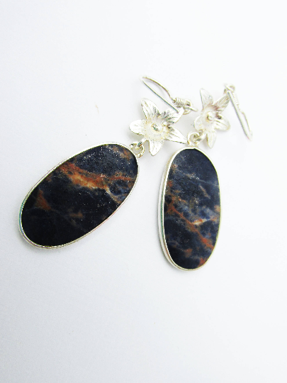 Adorable Sodalite Earrings, 925 Silver, One of a Kind, Unique Stone