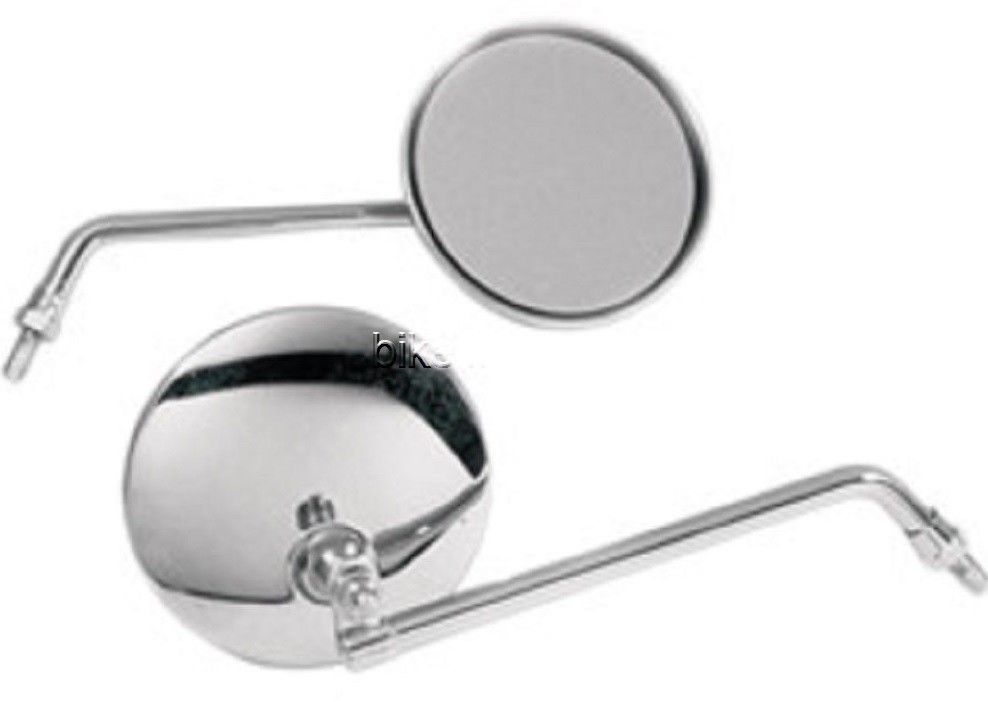 "Two (2) 10mm Emgo Universal 4"" Mirrors with 8"" Stem Motorcycle Scooter"